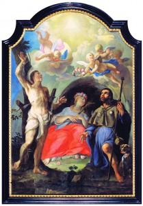 Sv. Rok, sv. Rozalija i sv. Sebastijan, zaštitnici od kuge Anton Hertzog, ulje na platnu, 1735. godina