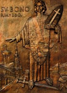Reljef sv. Bone postaljven na vanjskom zidu Pastoralnog centra